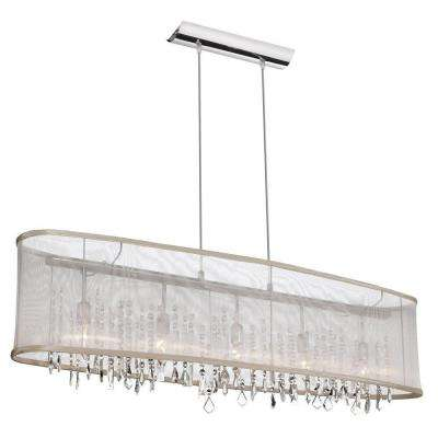 Bohemian 5-Light Polished Chrome Horizontal Crystal Chandelier with Oyster Organza Oval Shade