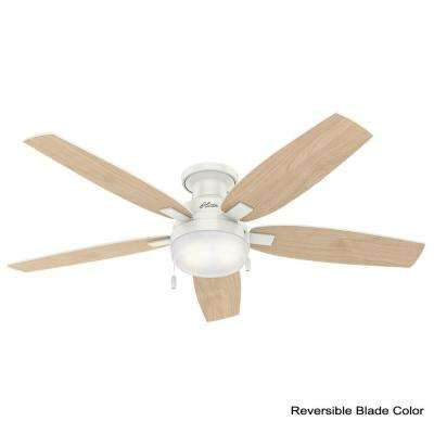 Duncan 52 in. LED Indoor Fresh White Flush Mount Ceiling Fan with Light Bundled with Handheld Remote Control