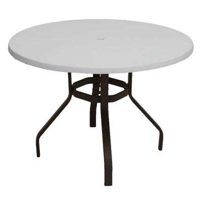 Marco Island 42 in. Dark Cafe Brown Round Commercial Fiberglass Patio Dining Table