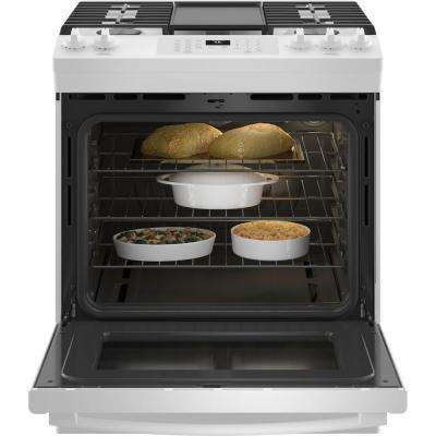 30 in. 5.6 cu. ft. Slide-In Gas Range with Self-Cleaning Convection Oven and Air Fry in White