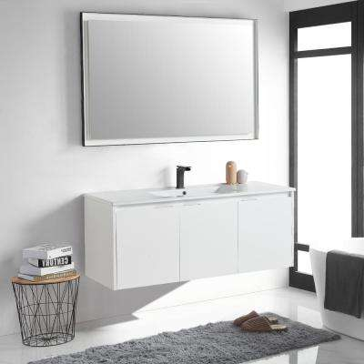 18 in. W x 19 in. D x 47 in. H White Wall-Mounted Single Bathroom Vanity with Vanity Top in White with White Basin