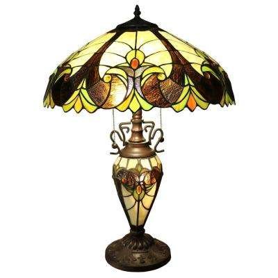 Tiffany-Style 23 in. Multi Colored Indoor Table Lamp with Double Lit Base