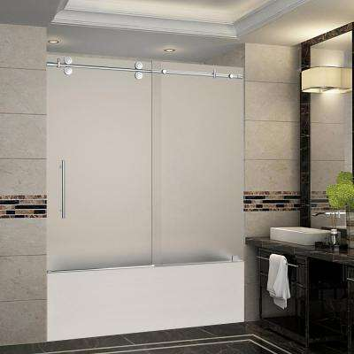 Langham 56 in. to 60 in. x 60 in. Completely Frameless Sliding Tub Door with Frosted Glass in Chrome