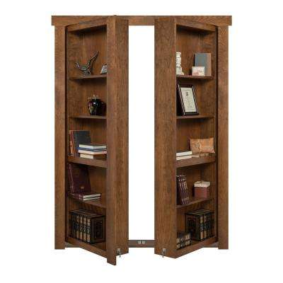 60 in. x 80 in. Flush Mount Assembled Cherry Medium Stained In-Swing Solid Core Interior French Bookcase Door