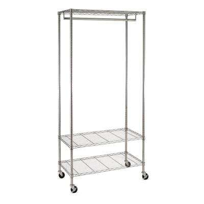 3-Shelf Steel Wheeled Deluxe Garment Rack in Chrome, 17.7 in. L x 35.83 in. W x 76.98 in. H