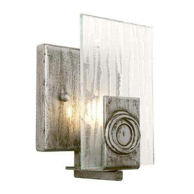 Polar 1-Light Blackened Silver Vanity Light with Ice Crystal Plate Glass