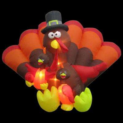 101.97 in. W x 78.74 in. D x 68.11 in. H Inflatable Turkey Family Scene