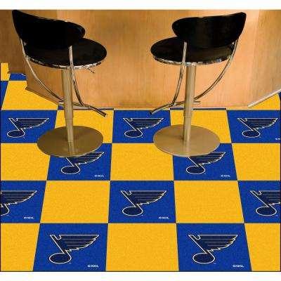 NHL - St. Louis Blues Blue and Black Pattern 18 in. x 18 in. Carpet Tile (20 Tiles/Case)