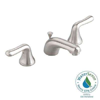 Colony Soft 8 in. Widespread 2-Handle Low-Arc Bathroom Faucet in Satin Nickel with Speed Connect Drain
