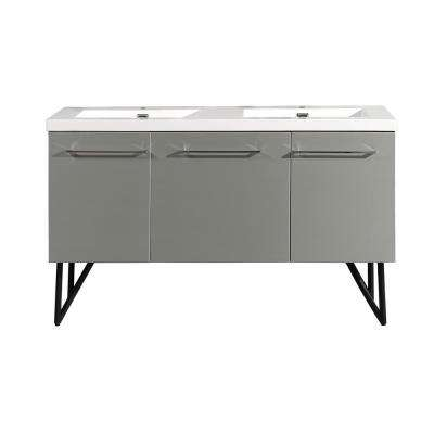 Annecy 60 in. Double, 2-Door, 1 Drawer Bathroom Vanity in Gray with White Basin