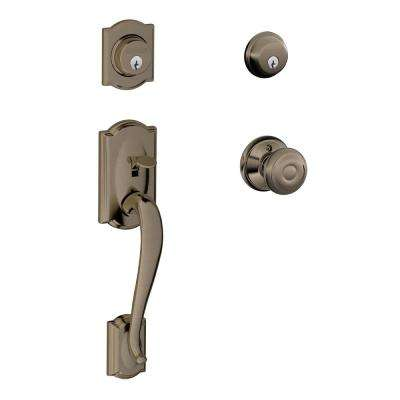 Camelot Double Cylinder Antique Pewter Handleset with Georgian Interior Knob
