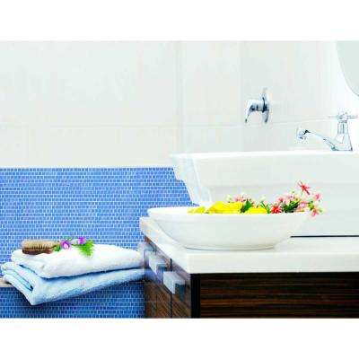 Landscape Mediterranean Blue Linear Mosaic 1 in. x 1 in. Glossy Glass Wall Pool and Floor Tile (0.84 Sq. ft.)