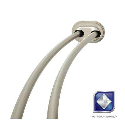 72 in. Rustproof Adjustable Double Tension Curved Shower Rod in Brushed Nickel