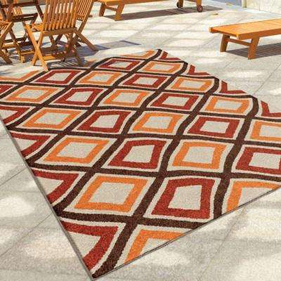 Swirly Squares Red Geo 8 ft. x 11 ft. Indoor/Outdoor Area Rug