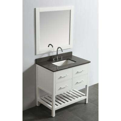 London 36 in. W x 22 in. D Vanity in White with Quartz Vanity Top in Gray with White Basin and Mirror