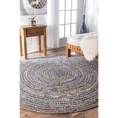 Dara Striped Coastal Jute Blue 8 ft. x 8 ft. Round Rug