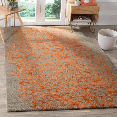 Blossom Gray/Orange 8 ft. x 10 ft. Area Rug