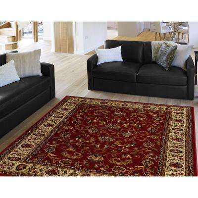 Royalty Red/Ivory 8 ft. x 10 ft. Indoor Area Rug