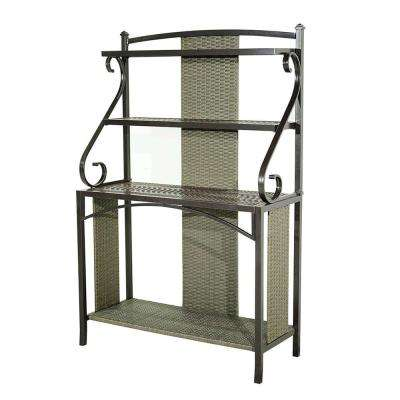 Sophie 43 in. W Bakers Rack in Brown Frame with Gray Wicker