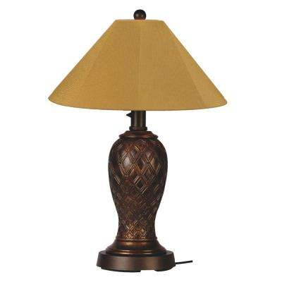 Monterey 34 in. Bronze Outdoor Table Lamp with Brass Shade