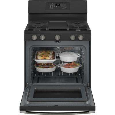 30 in. 5.0 cu. ft. Gas Range with Self-Cleaning Convection Oven and Air Fry in Black Slate