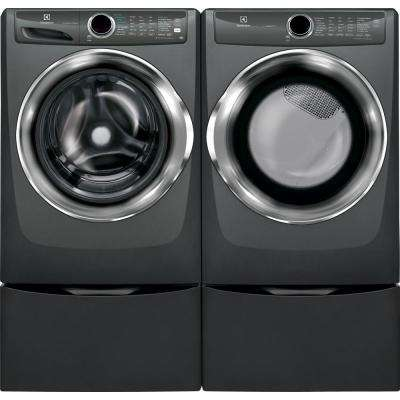 8.0 cu. ft. Front Load Perfect Steam Electric Dryer with LuxCare Dry and Instant Refresh in Titanium