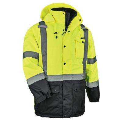 Men's Lime High Visibility Reflective Thermal Parka