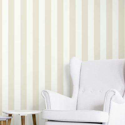 28.18 sq. ft. Awning Stripe Neutral Peel and Stick Wallpaper