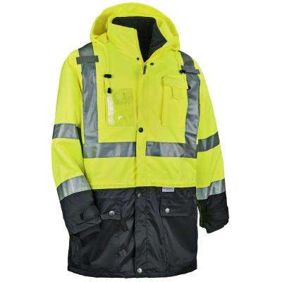 Men's Lime Polyester Reflective Thermal Jacket Set