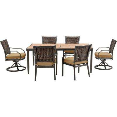 Mercer 7-Piece All-Weather Wicker Rectangular Patio Dining Set with Country Cork Cushions