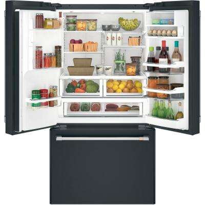 27.8 cu. ft. French Door Refrigerator with Hot Water Dispenser in Matte Black, Fingerprint Resistant
