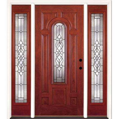 63.5 in. x 81.625 in. Lakewood Patina Stained Cherry Mahogany Left-Hand Fiberglass Prehung Front Door with Sidelites