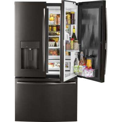 36 in. W 27.8 cu. ft. French Door Refrigerator with Door-in-Door in Black Stainless Steel, Fingerprint Resistant