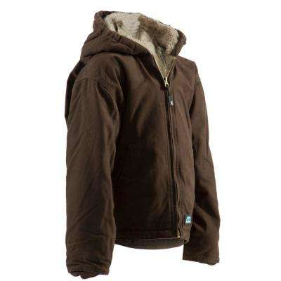 Boys Olive Duck 100% Cotton Washed Hooded Jacket