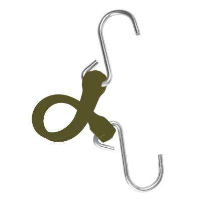 7 in. EZ-Stretch Polyurethane Bungee Strap with Galvanized S-Hooks (Overall Length: 12 in.) in Military Green