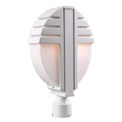 2-Light Outdoor White Post-Light with Matte Opal Glass
