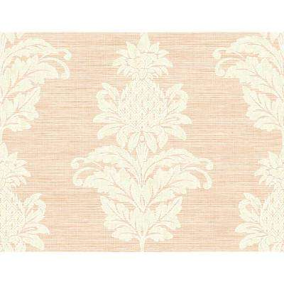 60.8 sq. ft. Pineapple Grove Pink Damask Wallpaper