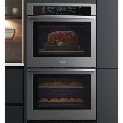 30 in. 5.1/5.1 cu. ft. Wi-Fi Connected Double Electric Wall Oven in Black Stainless Steel