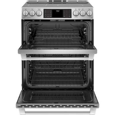 Cafe 6.7 cu. ft. Slide-In Double Oven Electric Range with Self-Cleaning Convection Oven in Stainless Steel