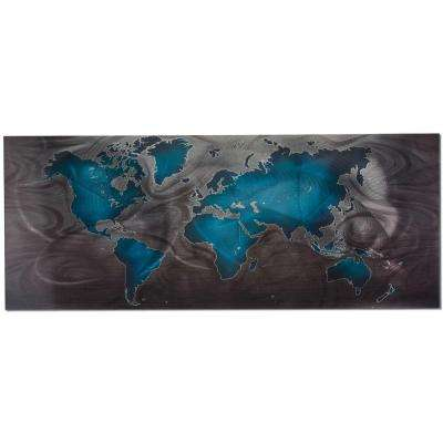 Brevium 19 in. x 48 in. Blue and Pewter, Land and Sea Metal Wall Art