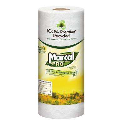 Recycled Perforated White Paper Towels (15 Rolls)