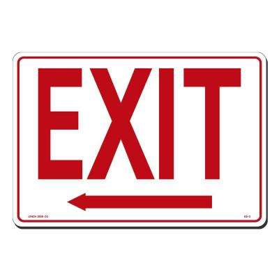 14 in. x 10 in. Red on White Plastic Exit with Arrow Left Sign