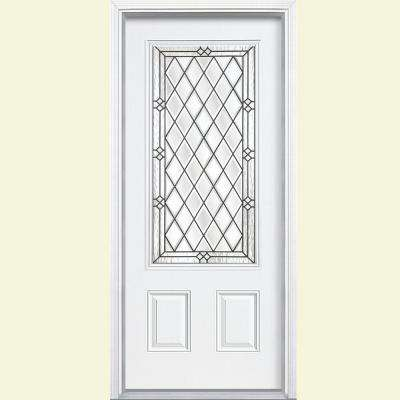 36 in. x 80 in. Halifax 3/4 Rectangle Right-Hand Inswing Painted Smooth Fiberglass Prehung Front Door w/ Brickmold