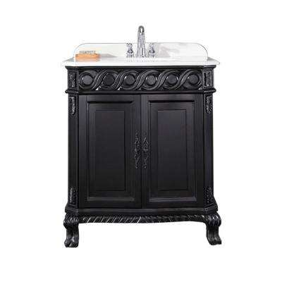 Trent 30 in. Vanity in Black Antique with Cultured Marble Vanity Top in White