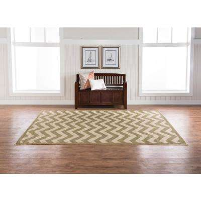 Innovations Reversible Green and Tan Chevron 6 ft. x 9 ft. Indoor/Outdoor Area Rug