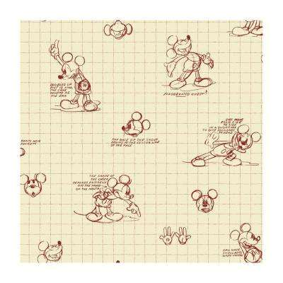 56 sq. ft. Mickey Mouse Sketches Wallpaper