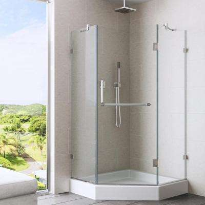 Piedmont 36.125 in. x 78.75 in. Frameless Neo-Angle Shower Enclosure in Chrome and Clear Glass with Base in White
