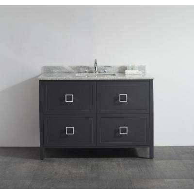 Drexel 48 in. W Vanity in Charcoal with Marble Vanity Top in White with White Sink
