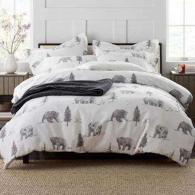 Bear Tracks Flannel Duvet Cover