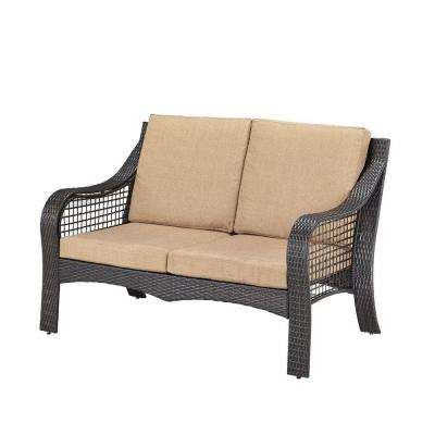 Lanai Breeze Deep Brown Woven Patio Loveseat with Cushion